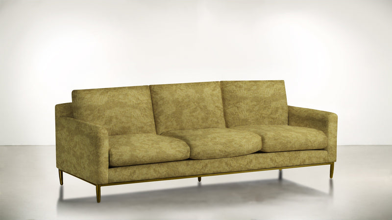 The Tastemaker Sofa 7' Sofa Crushed Micro-Chenille Dijon / Brass Whom. Home