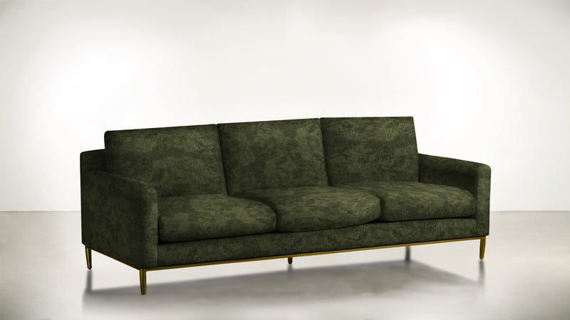 The Tastemaker Sofa 7' Sofa Crushed Micro-Chenille Forest / Brass Whom. Home