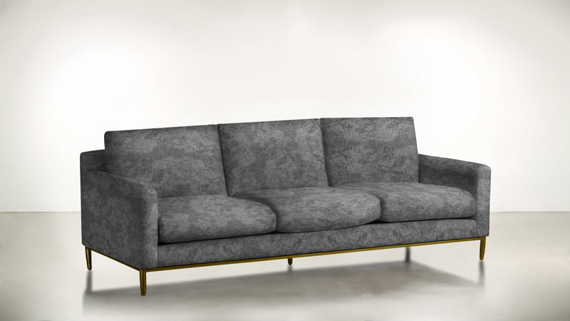 The Tastemaker Sofa 7' Sofa Crushed Micro-Chenille Granite / Brass Whom. Home