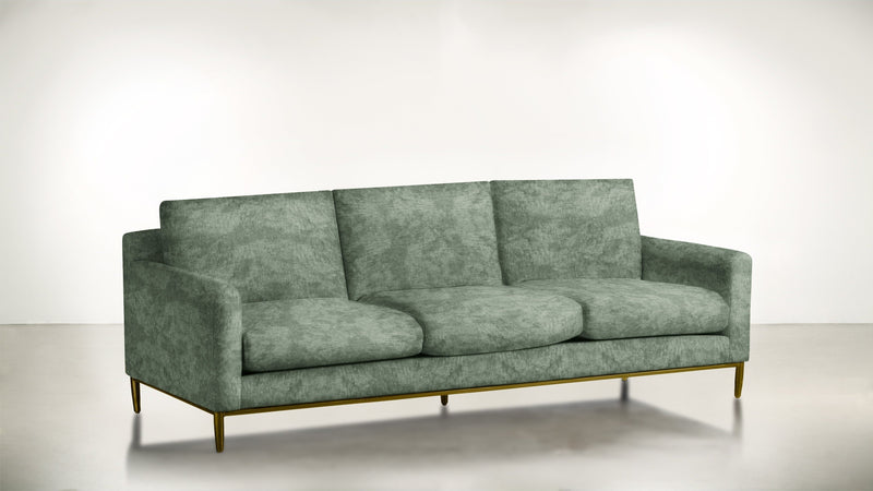 The Tastemaker Sofa 7' Sofa Crushed Micro-Chenille Mint / Brass Whom. Home