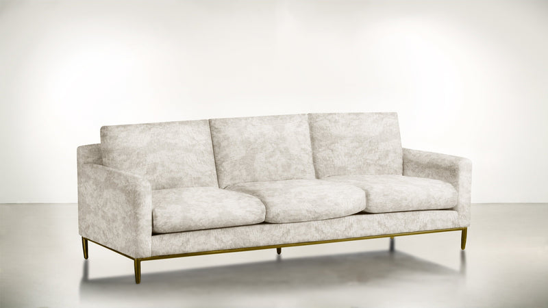 The Tastemaker Sofa 7' Sofa Crushed Micro-Chenille Snow / Brass Whom. Home