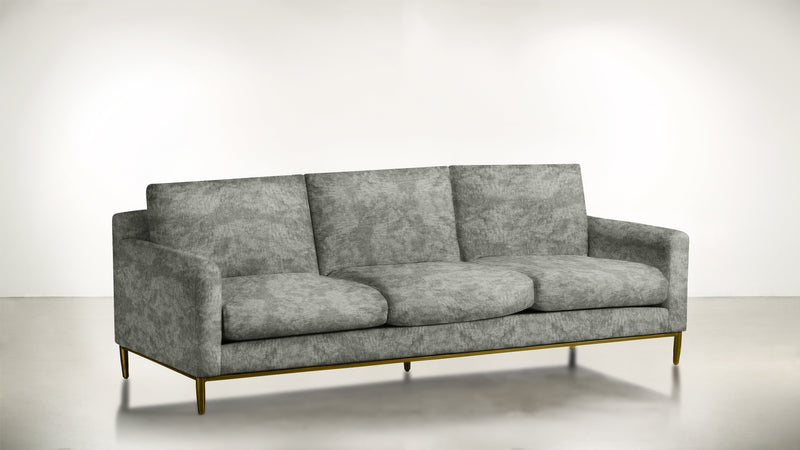 The Tastemaker Sofa 7' Sofa Crushed Micro-Chenille Stone / Brass Whom. Home