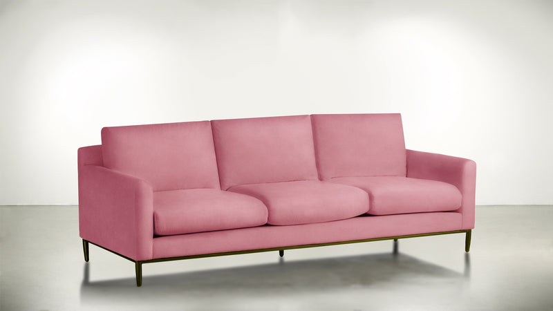 The Tastemaker Sofa 7' Sofa Structured Velvet Flamingo / Brass Whom. Home
