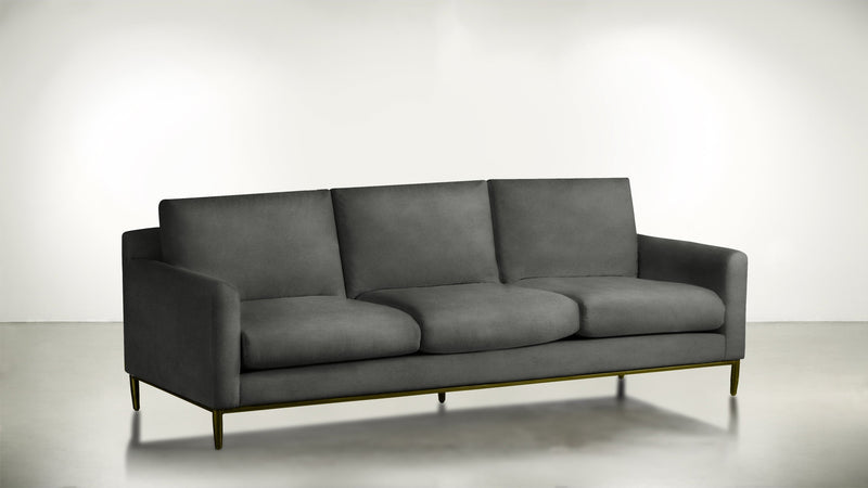 The Tastemaker Sofa 7' Sofa Structured Velvet Gladiator Gray / Brass Whom. Home