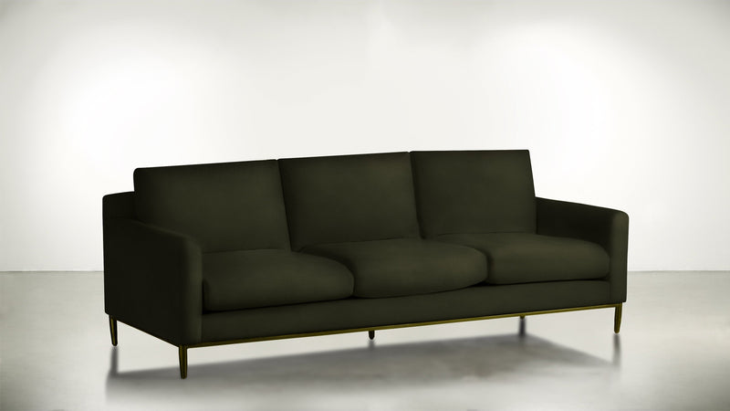 The Tastemaker Sofa 7' Sofa Structured Velvet Malachite / Brass Whom. Home