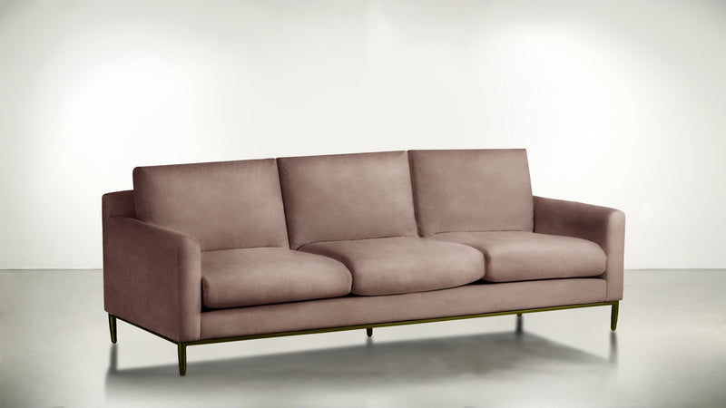 The Tastemaker Sofa 7' Sofa Velvet Knit Blush / Brass Whom. Home