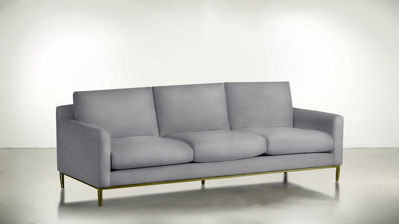 The Tastemaker Sofa 7' Sofa Velvet Knit Dove / Brass Whom. Home