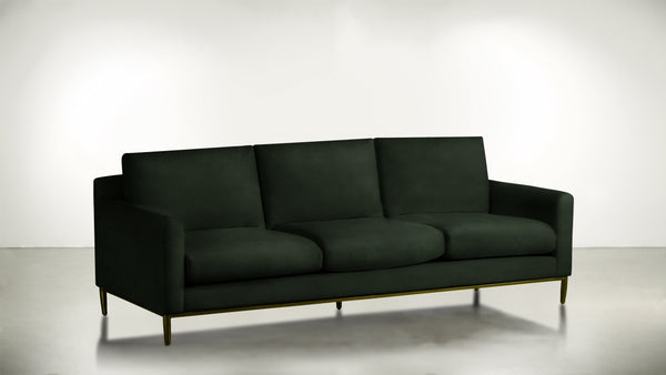 The Tastemaker Sofa 7' Sofa Velvet Knit Evergreen / Brass Whom. Home
