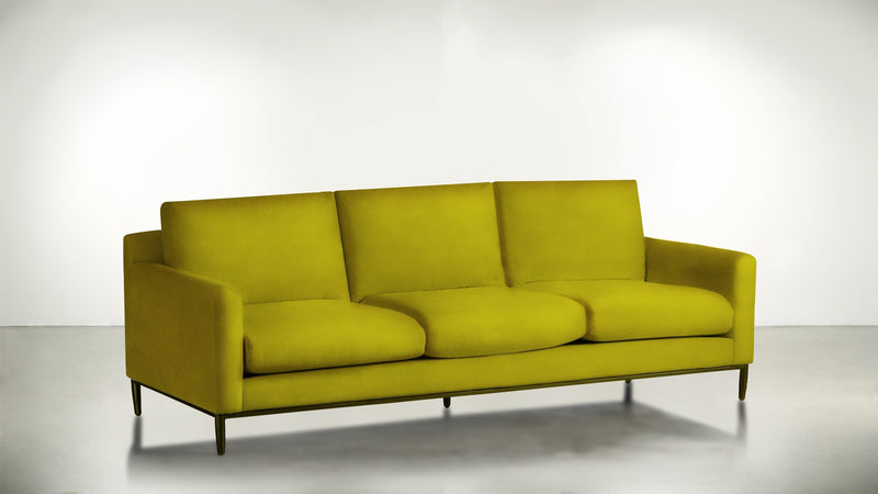 The Tastemaker Sofa 7' Sofa Velvet Knit Marigold / Brass Whom. Home