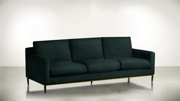 The Tastemaker Sofa 7' Sofa Velvet Knit Peacock / Brass Whom. Home