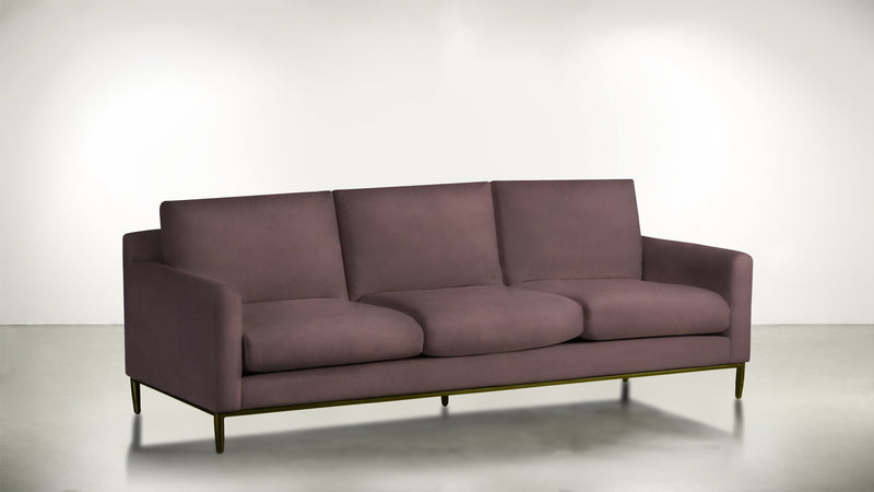 The Tastemaker Sofa 7' Sofa Velvet Knit Rose / Brass Whom. Home