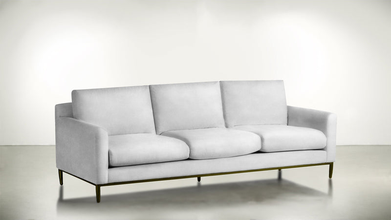 The Tastemaker Sofa 7' Sofa Velvet Knit White / Brass Whom. Home