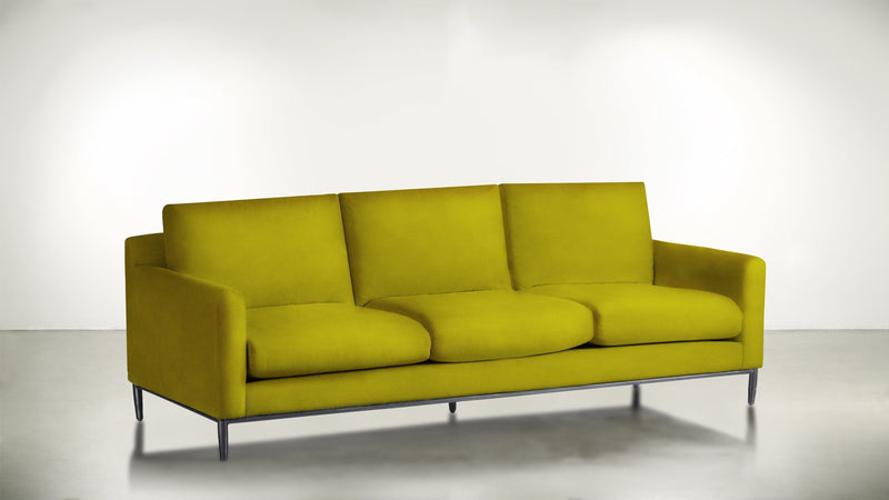 The Tastemaker Sofa 7' Sofa Velvet Knit Marigold / Silver Whom. Home