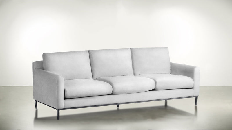 The Tastemaker Sofa 7' Sofa Velvet Knit White / Silver Whom. Home