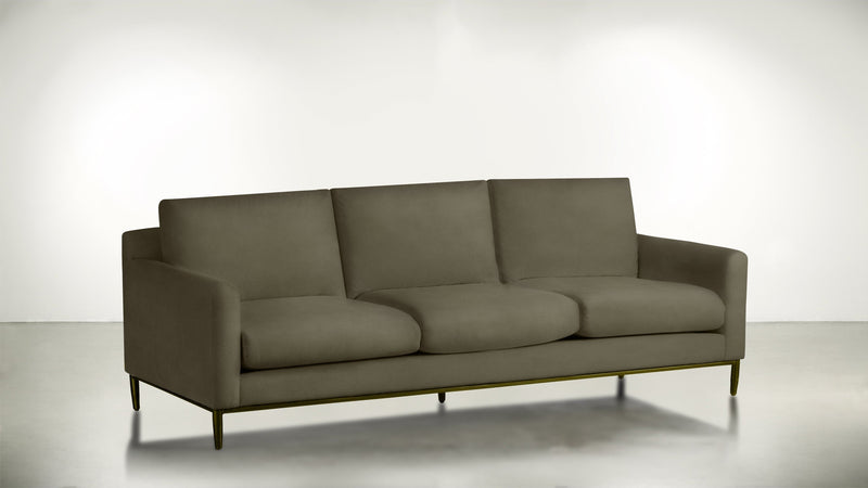 The Tastemaker Sofa 8' Sofa Structured Velvet Biscotti / Brass Whom. Home