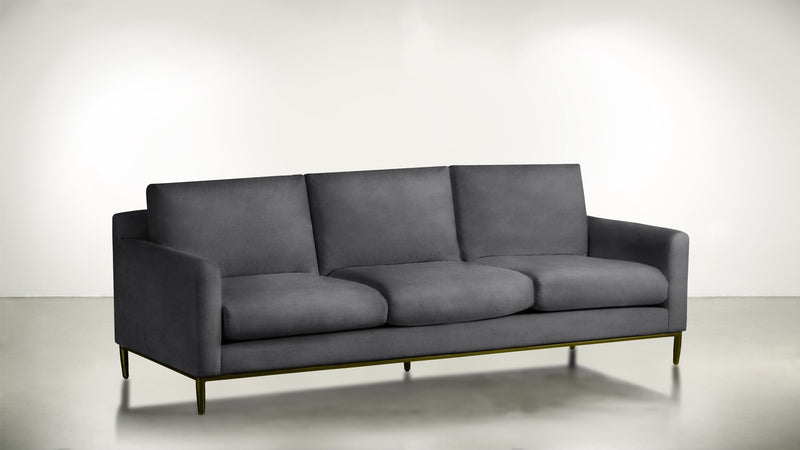 The Tastemaker Sofa 8' Sofa Velvet Knit Ash / Brass Whom. Home