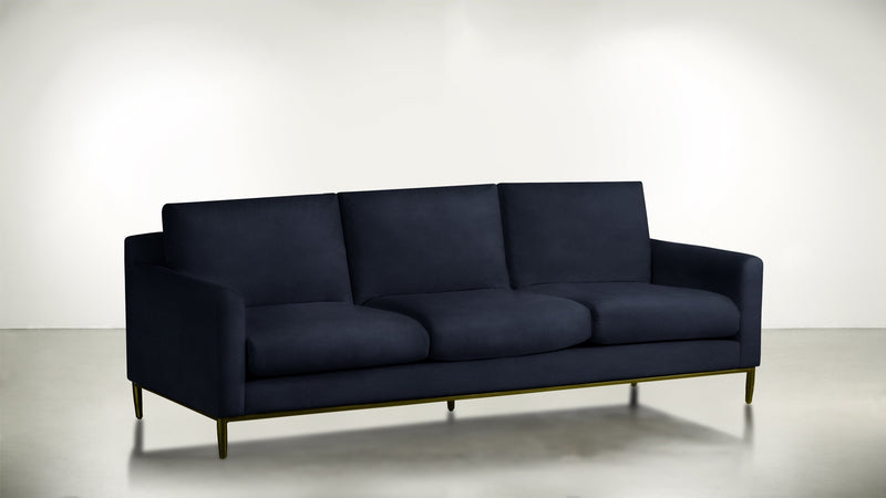 The Tastemaker Sofa 8' Sofa Velvet Knit Cobalt / Brass Whom. Home