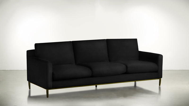 The Tastemaker Sofa 8' Sofa Velvet Knit Onyx / Brass Whom. Home