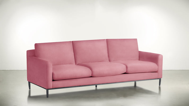 The Tastemaker Sofa 8' Sofa Structured Velvet Flamingo / Silver Whom. Home