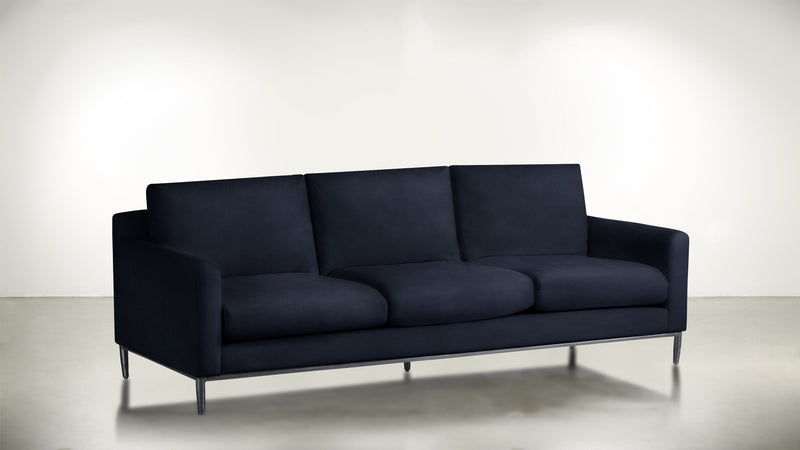 The Tastemaker Sofa 8' Sofa Velvet Knit Cobalt / Silver Whom. Home