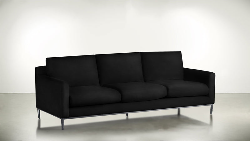 The Tastemaker Sofa 8' Sofa Velvet Knit Onyx / Silver Whom. Home