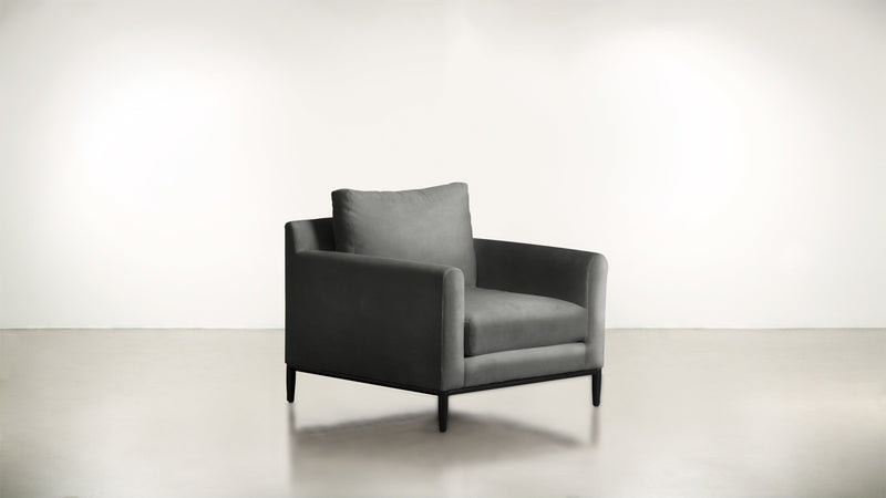 The Tastemaker Lounge Chair Lounge Chair Structured Velvet Gladiator Gray / Black Whom. Home
