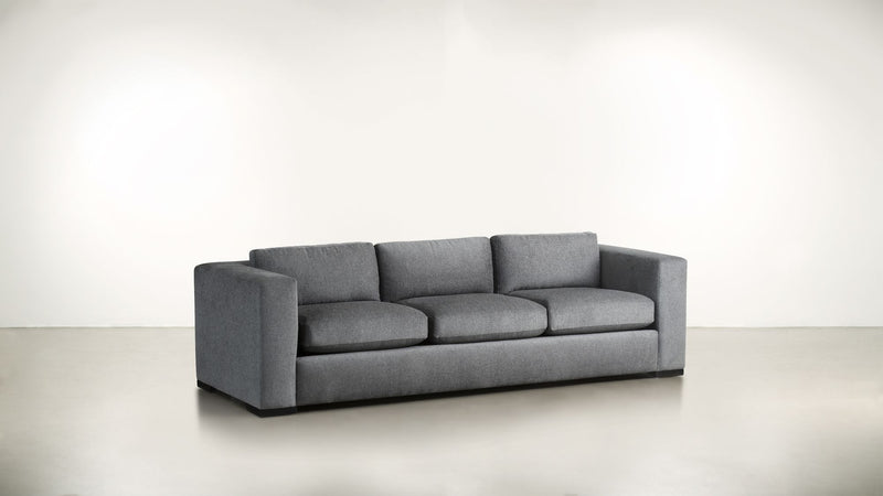 The Stylist Sofa 7' Sofa Structured Linen Weave Steel / Blackw Whom. Home