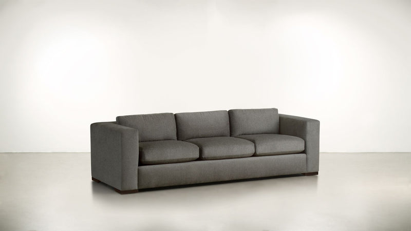 The Stylist Sofa 7' Sofa Structured Linen Weave Taupe / Chocolate Whom. Home
