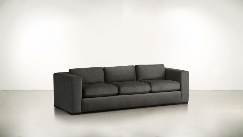 The Stylist Sofa 8' Sofa Structured Linen Weave Charcoal / Blackw Whom. Home
