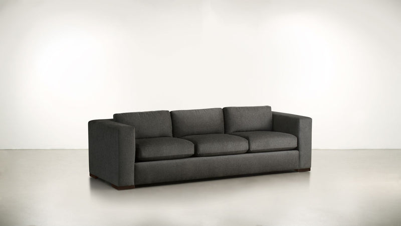 The Stylist Sofa 8' Sofa Structured Linen Weave Charcoal / Chocolate Whom. Home