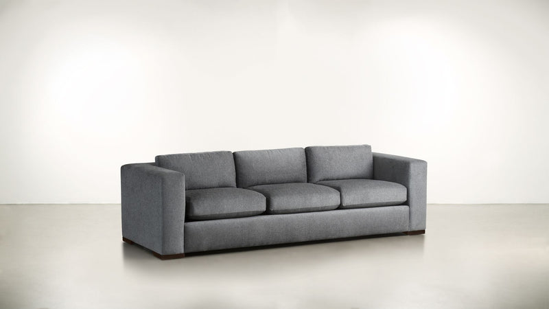 The Stylist Sofa 8' Sofa Structured Linen Weave Steel / Chocolate Whom. Home