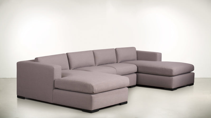 The Stylist Modular Sectional 3-Piece Set Classic Linen Weave Blush / Blackw Whom. Home