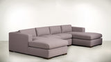The Stylist Modular Sectional 3-Piece Set Classic Linen Weave Blush / Chocolate Whom. Home