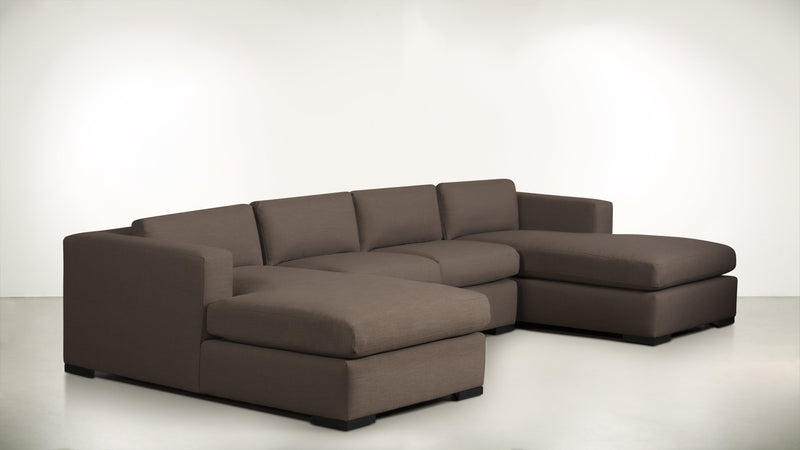 The Stylist Modular Sectional 3-Piece Set Classic Linen Weave Mink / Blackw Whom. Home