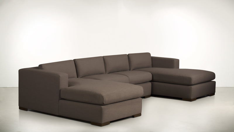 The Stylist Modular Sectional 3-Piece Set Classic Linen Weave Mink / Chocolate Whom. Home