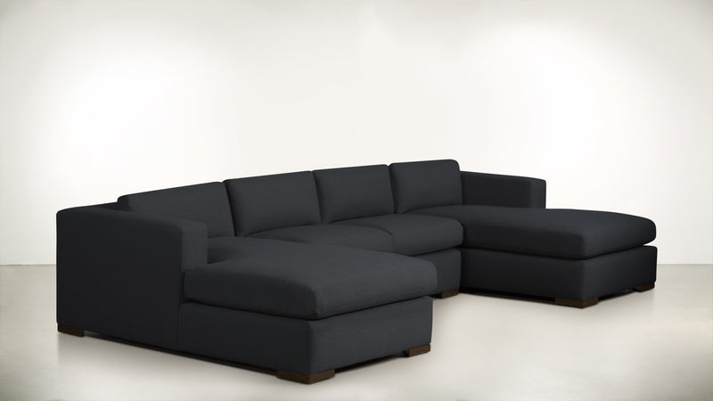 The Stylist Modular Sectional 3-Piece Set Classic Linen Weave Navy / Chocolate Whom. Home