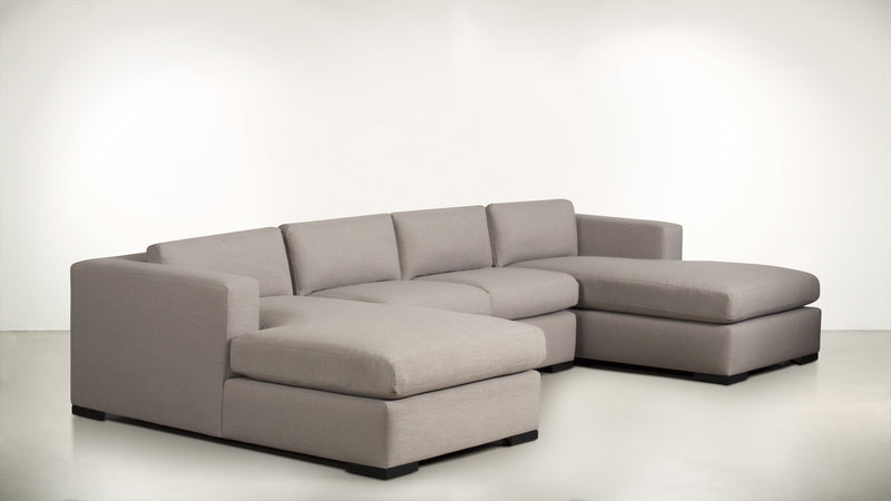 The Stylist Modular Sectional 3-Piece Set Classic Linen Weave Oatmeal / Blackw Whom. Home