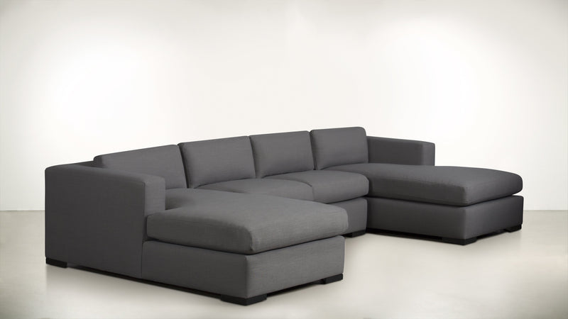 The Stylist Modular Sectional 3-Piece Set Classic Linen Weave Smoke / Blackw Whom. Home