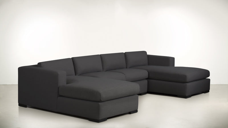 The Stylist Modular Sectional 3-Piece Set Structured Linen Weave Charcoal / Blackw Whom. Home