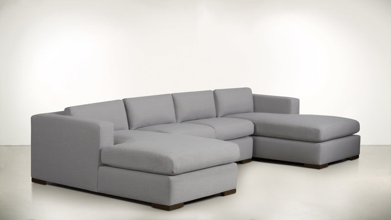 The Stylist Modular Sectional 3-Piece Set Structured Linen Weave Dove / Chocolate Whom. Home