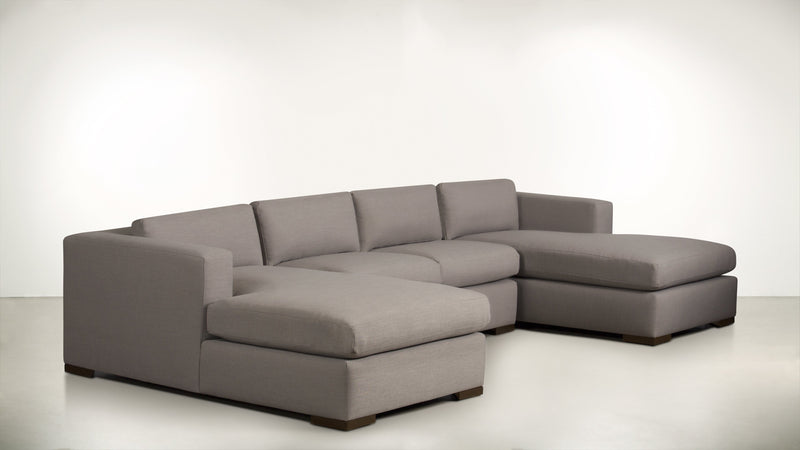 The Stylist Modular Sectional 3-Piece Set Structured Linen Weave Sand / Chocolate Whom. Home
