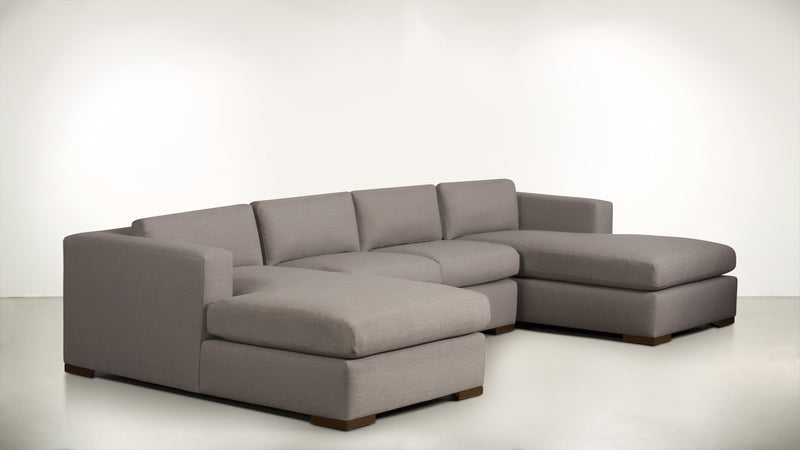 The Stylist Modular Sectional 3-Piece Set Structured Linen Weave Sand / Hazel Whom. Home