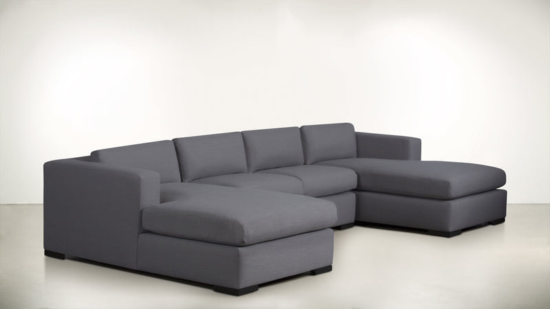 The Stylist Modular Sectional 3-Piece Set Structured Linen Weave Steel / Blackw Whom. Home