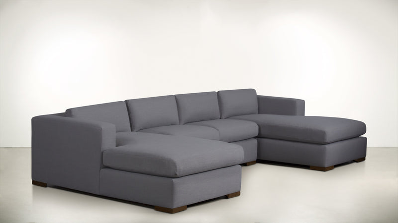 The Stylist Modular Sectional 3-Piece Set Structured Linen Weave Steel / Hazel Whom. Home