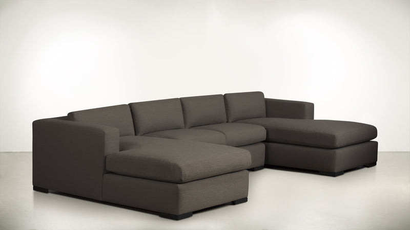 The Stylist Modular Sectional 3-Piece Set Structured Linen Weave Taupe / Blackw Whom. Home
