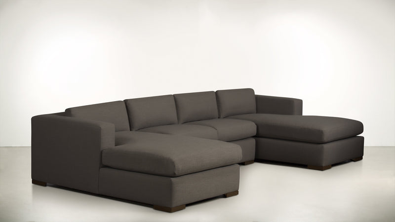The Stylist Modular Sectional 3-Piece Set Structured Linen Weave Taupe / Chocolate Whom. Home