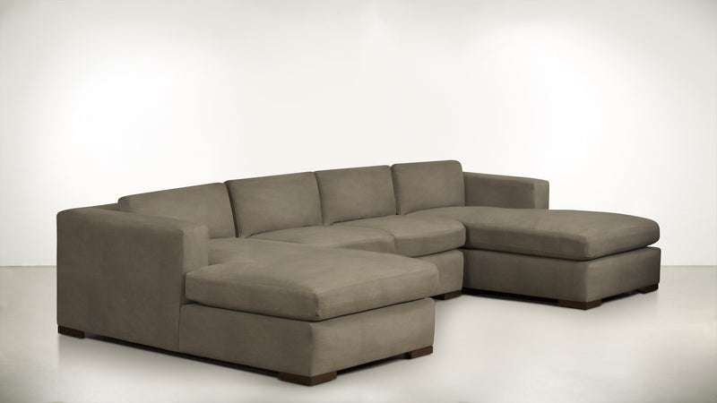 The Stylist Modular Sectional 3-Piece Set Structured Velvet Biscotti / Chocolate Whom. Home