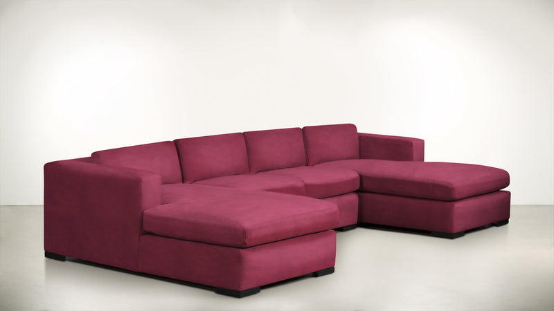 The Stylist Modular Sectional 3-Piece Set Structured Velvet Flamingo / Blackw Whom. Home