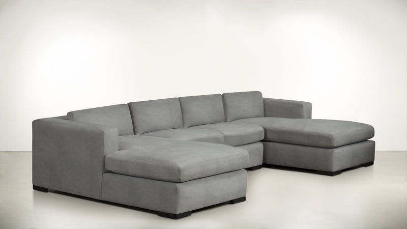 The Stylist Modular Sectional 3-Piece Set Structured Velvet Gladiator Gray / Blackw Whom. Home