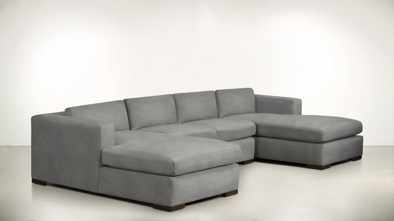 The Stylist Modular Sectional 3-Piece Set Structured Velvet Gladiator Gray / Chocolate Whom. Home